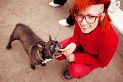 A menina brilhante alimenta um cão Fotografia de Stock