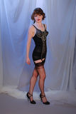 Menina burlesque retro bonito na roupa interior Imagem de Stock