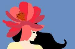 Menina caucasiano à moda bonita com a flor vermelha grande do cosmos como um chapéu em sua cabeça Retrato do perfil isolado no fu ilustração stock