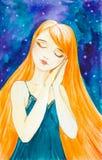 Menina caucasiano com cabelo vermelho longo no fundo de um céu estrelado bonito Sonos que estão com mãos dobradas e que põem as ilustração royalty free