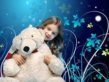 Menina caucasiano com um urso polar Fotos de Stock
