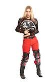 Menina - cavaleiro da motocicleta nenhum capacete Imagem de Stock Royalty Free