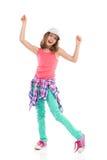 Menina Cheering no boné de beisebol Fotos de Stock Royalty Free