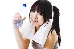 Menina chinesa após um exercício. fotos de stock royalty free