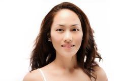 A menina chinesa asiática que levanta sem compõe isolado Imagem de Stock Royalty Free