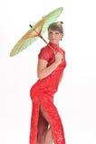 Menina chinesa com guarda-chuva imagem de stock royalty free