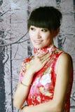 Menina chinesa nas cenas da neve Imagem de Stock