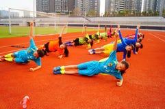 Menina chinesa no treinamento Foto de Stock