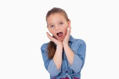 Menina chocada que grita Fotos de Stock Royalty Free