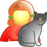 Menina com ícone do gato do animal de estimação Foto de Stock
