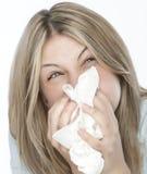 Menina com alergias Fotografia de Stock