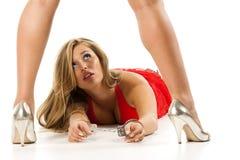 Menina com algemas Imagens de Stock Royalty Free
