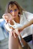 Menina com algemas Fotos de Stock Royalty Free