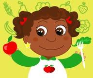 Menina com alimento saudável ilustração royalty free