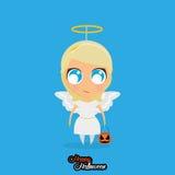 Menina com Angel Halloween Costume Isolated ilustração stock