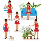 Menina com animais de estimação Imagens de Stock Royalty Free