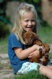 Menina com animal de estimação Fotografia de Stock
