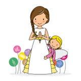 Menina com anjo ilustração royalty free