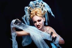 Menina com a aranha na Web Fotos de Stock Royalty Free