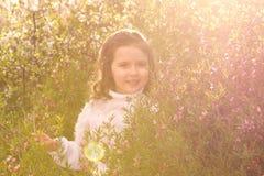 Menina com as flores da mola na natureza Imagem de Stock