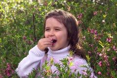Menina com as flores da mola na natureza Imagem de Stock Royalty Free