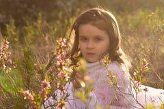 Menina com as flores da mola na natureza Fotos de Stock Royalty Free