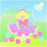 Menina com as flores no prado Fotografia de Stock Royalty Free