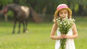 A menina com as flores selvagens em suas mãos aspirar-las Movimento lento video estoque
