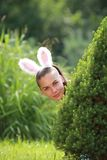 Menina com as orelhas de coelho engraçadas Imagem de Stock Royalty Free