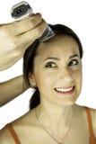 Menina com as tesouras prontas para cortar o cabelo Fotos de Stock Royalty Free