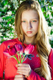 Menina com as tulipas nas mãos Fotografia de Stock