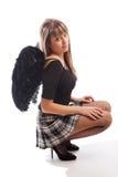Menina com asas pretas fotografia de stock royalty free