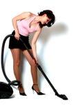 Menina com aspirador de p30 Imagens de Stock