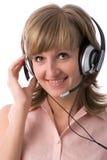 Menina com auriculares imagem de stock