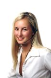 Menina com auriculares Foto de Stock Royalty Free