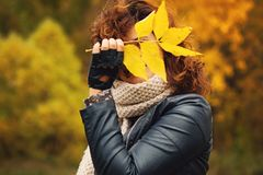 Menina com Autumn Leaf Outdoors foto de stock