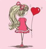 Menina com balão Fotos de Stock Royalty Free