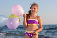 Menina com balões. Fotografia de Stock Royalty Free