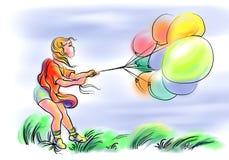Menina com balões Fotos de Stock Royalty Free