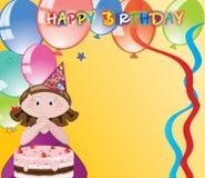Menina com balões, felicitações do aniversário. Imagem de Stock