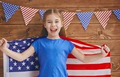 Menina com bandeira americana Imagem de Stock Royalty Free