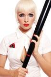 Menina com bastão de beisebol foto de stock royalty free