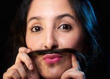 Menina com bigode Imagens de Stock Royalty Free