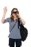 Menina com binocular Fotografia de Stock Royalty Free