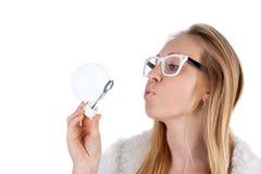 Menina com bolhas imagens de stock royalty free
