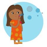 Menina com bolhas ilustração do vetor