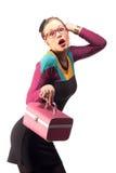 Menina com bolsa cor-de-rosa Imagens de Stock Royalty Free