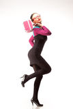Menina com bolsa cor-de-rosa Imagem de Stock