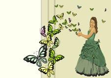 A menina com borboletas flitting imagens de stock