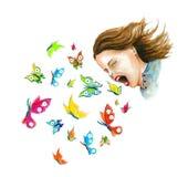 Menina com borboletas, gráfico do t-shirt ilustração royalty free